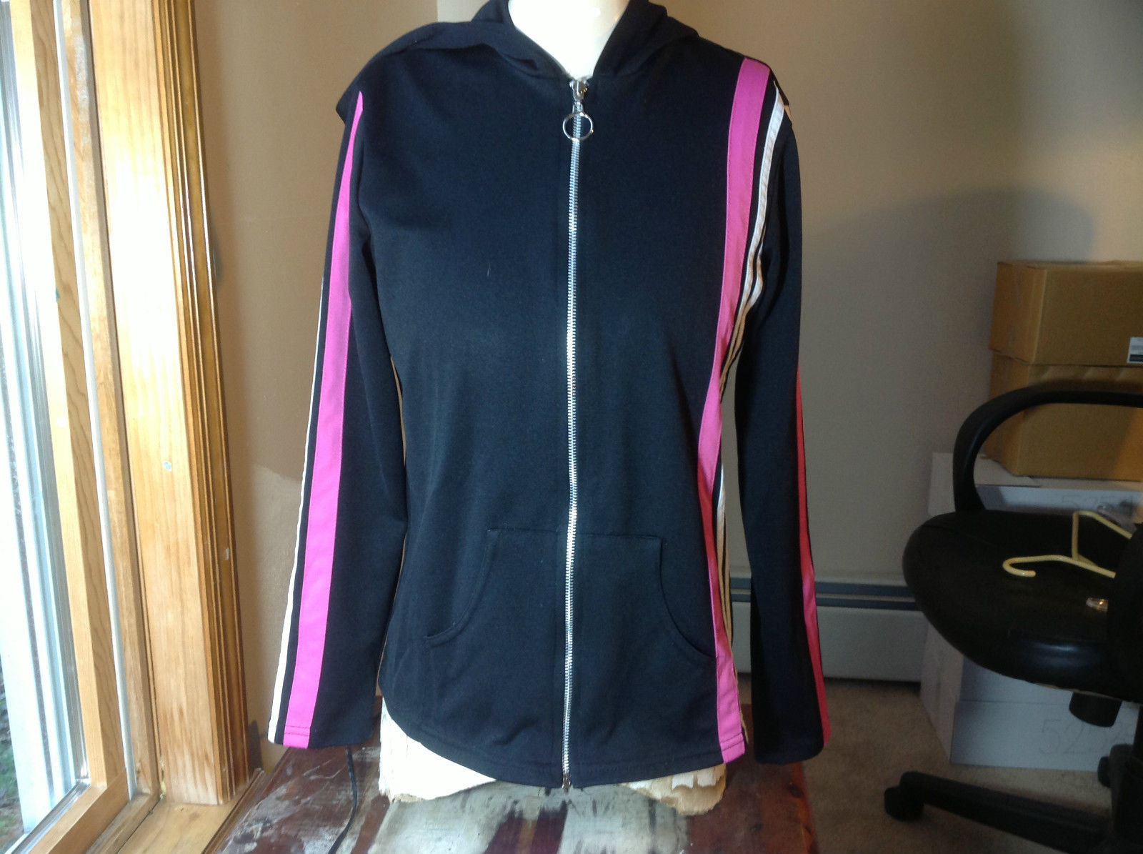 Next Concept Black  long sleeve zippered hoodie pink white strip front/sleeve