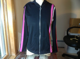 Next Concept Black  long sleeve zippered hoodie pink white strip front/sleeve image 1