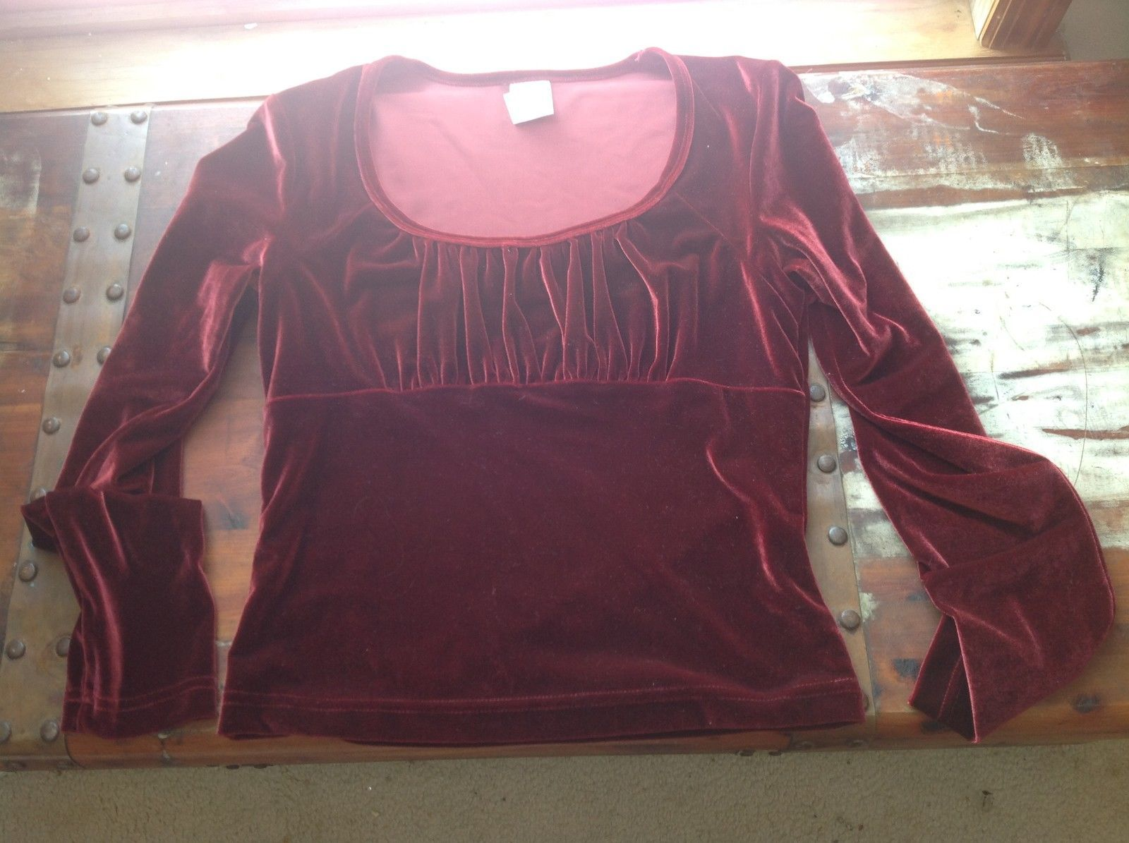 Next Era Clothing Long Sleeve Wine Colored Blouse Size Large velvet