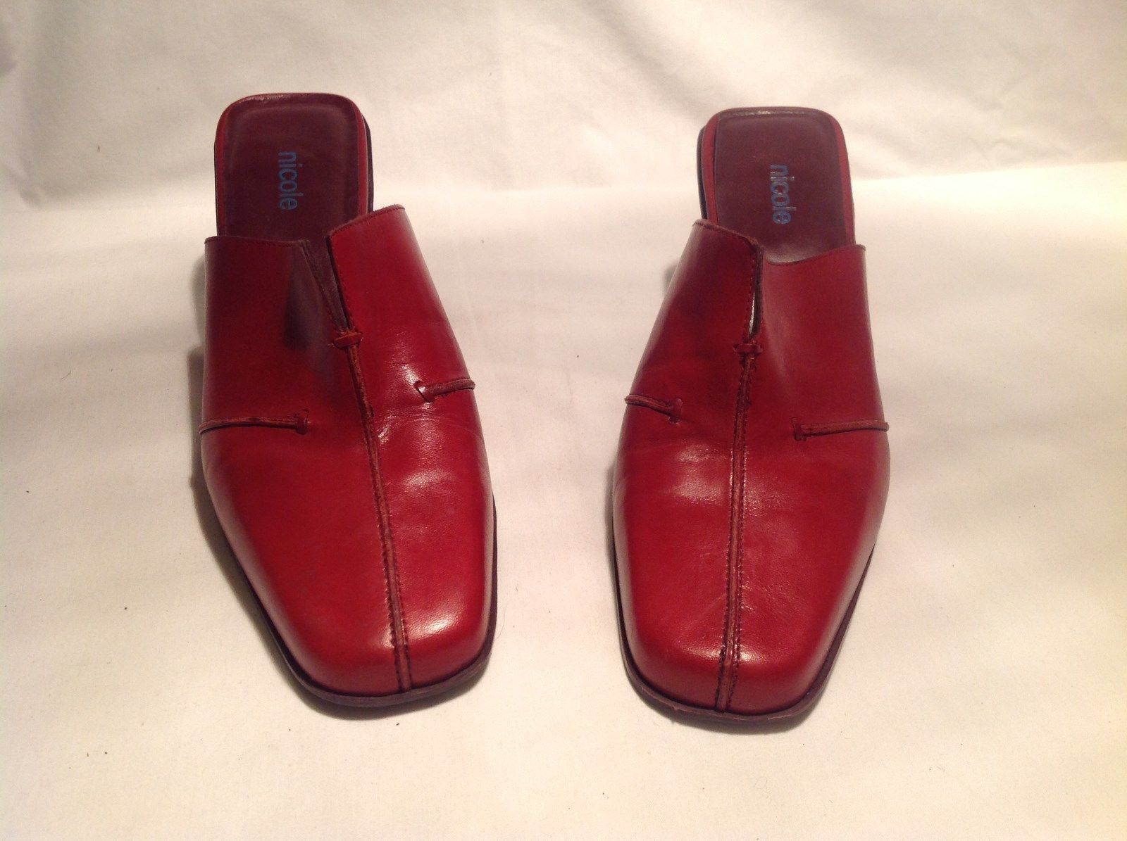 Nicole Red Leather Heels Platforms Open Back Size Eight and a Half