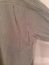 Light Green Blue Checked Button Up Long Sleeve Cotton Shirt Nautica Size Large image 6