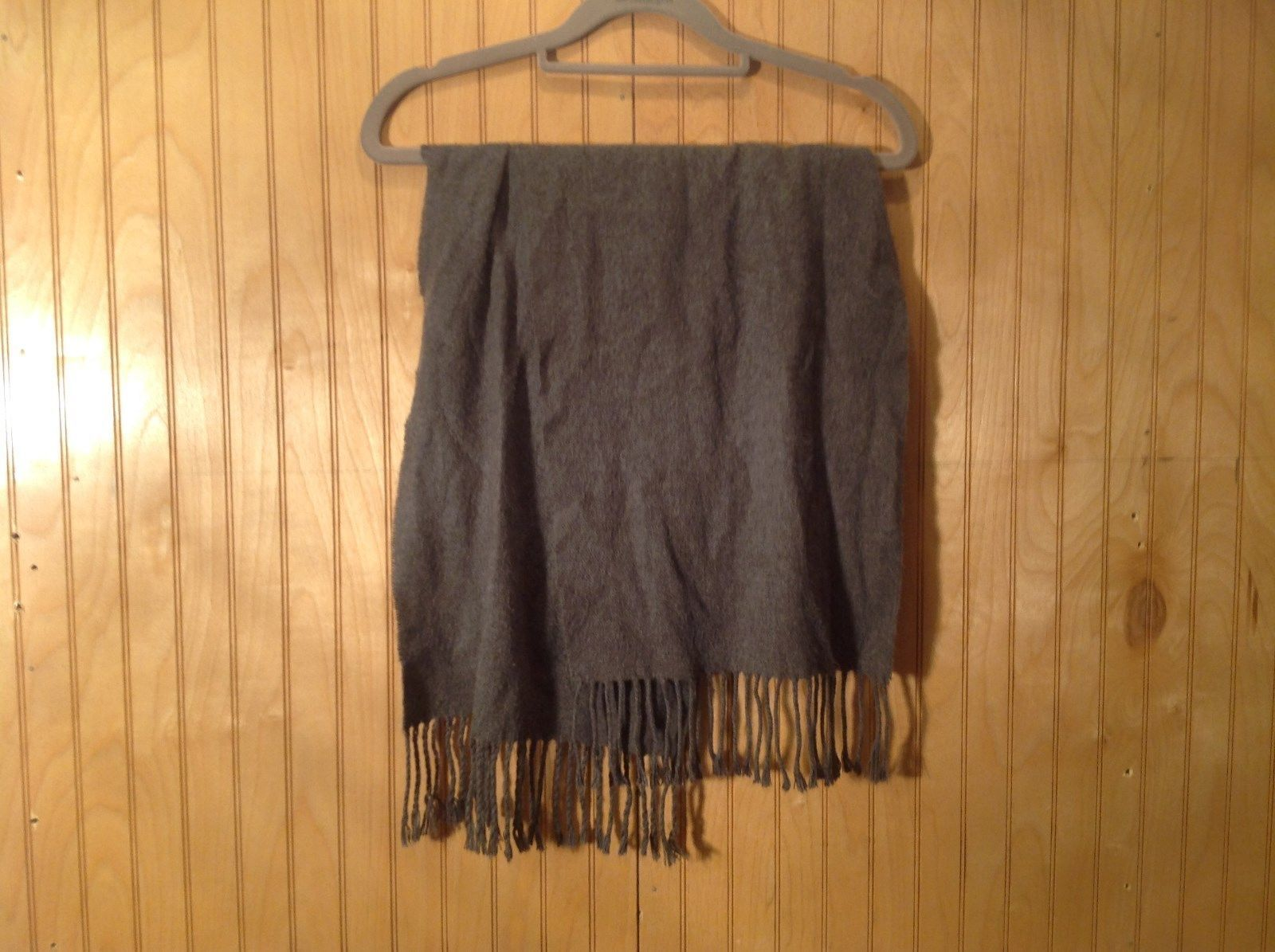Nice Soft Gray Long Scarf with Frills 12 Inches by 60 Inches