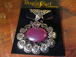 Nice Looking Purple Stone and Light Purple Crystal Silver Tone Scarf Pendant