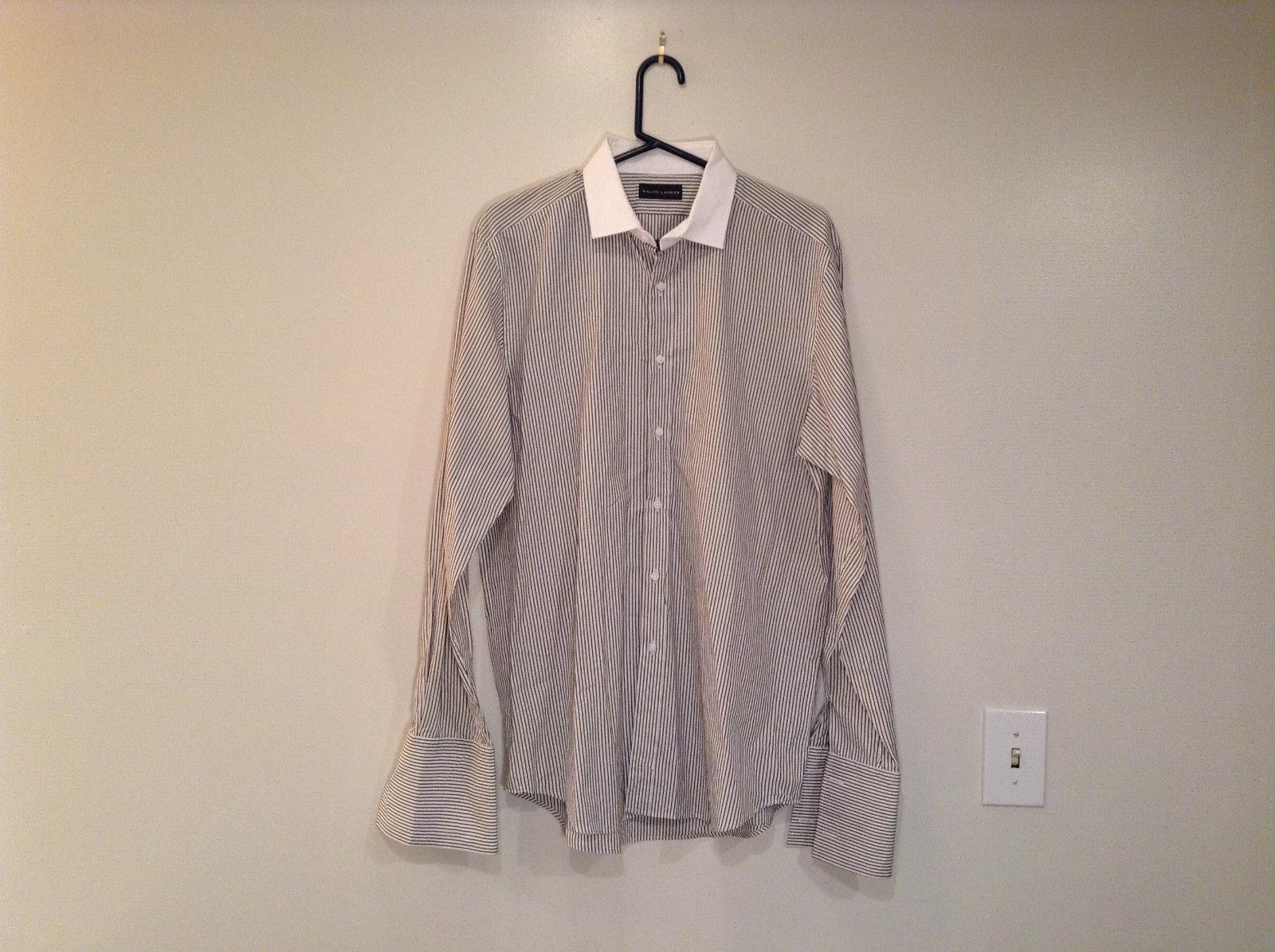 Nice White with Black Stripes Long Sleeve Dress Shirt Ralph Lauren Size 16.5
