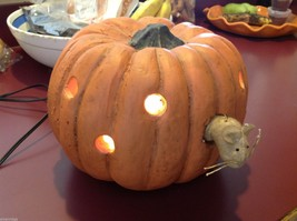 Night light carved pumpkin lantern for window table w little mouse peeking out
