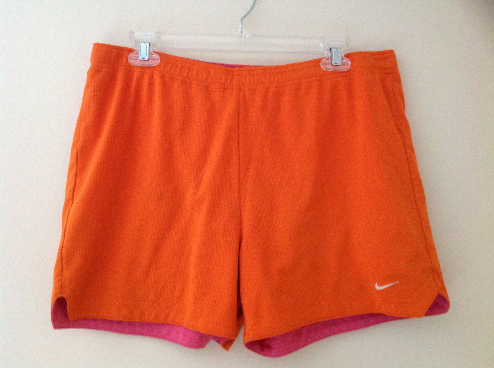 Nike Orange Pink Tie Waist Shorts Tie is on the Inside Elastic Waistband Size L