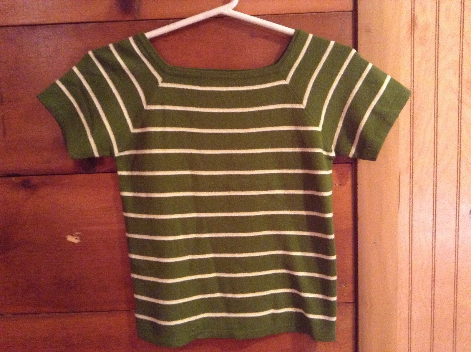 Nile Green Shirt Short Sleeve Stretchy Yellow White Striped No Size Tag