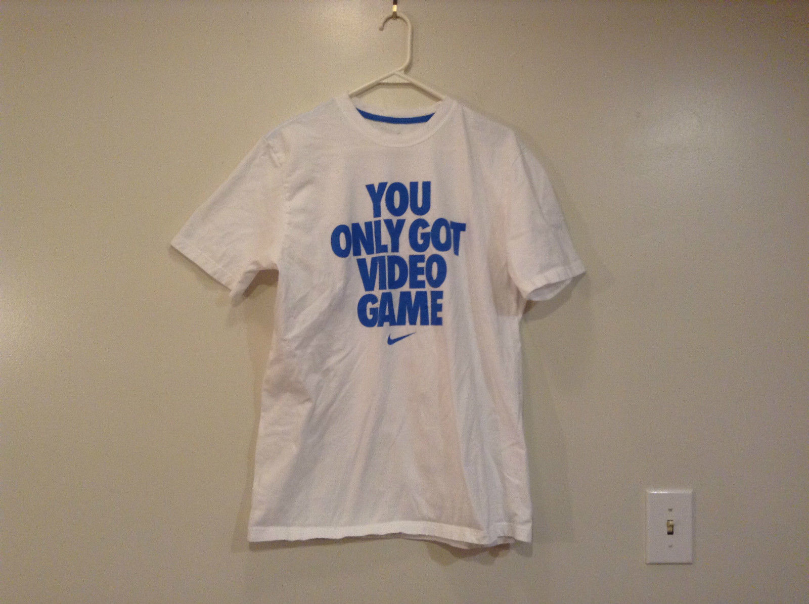 Nike White Short Sleeve T Shirt You Only Got Video Game on Front in Blue Size L