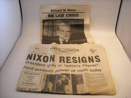 Nixon Resigns Times Union AUG 9 1974 Newspaper