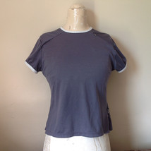 Nike Short Sleeve Athletic Wear Top Gray Blue with Off White Trim Size Small image 1