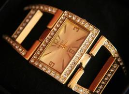 Ladies Elgin II rhinestone encrusted gold open ... - $25.00