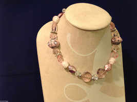 Light Pink Clear and Opaque Beaded Hand Made String Necklace Unique image 2