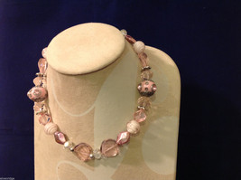 Light Pink Clear and Opaque Beaded Hand Made String Necklace Unique image 3