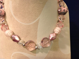 Light Pink Clear and Opaque Beaded Hand Made String Necklace Unique image 5