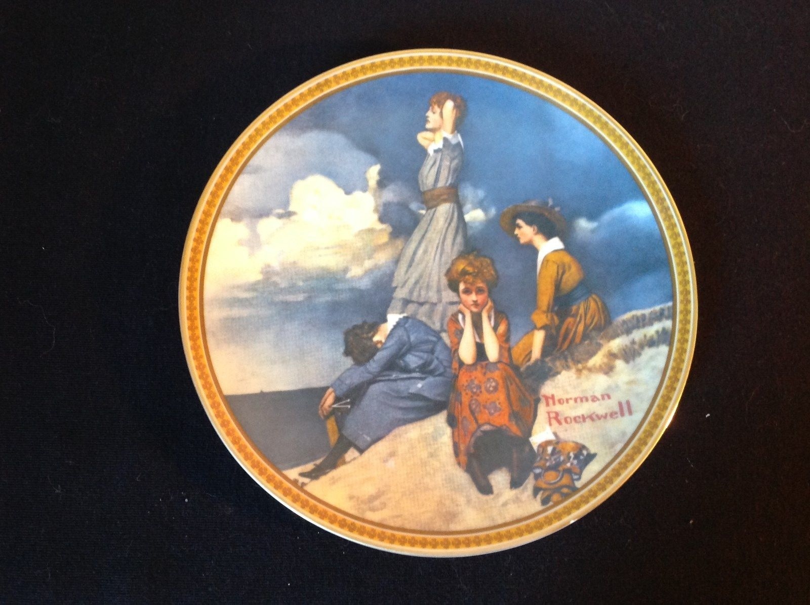 Norman Rockwell Limited Edition Plate Waiting on the Shore Official Seal on Back