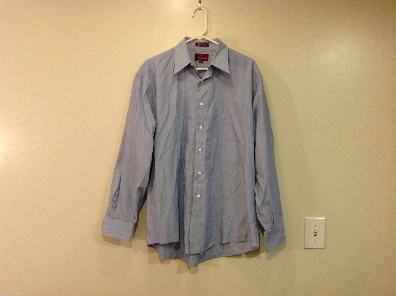Nordstrom Light Blue Tiny Stripes Long Sleeve Shirt, Size 16/35, 100% cotton