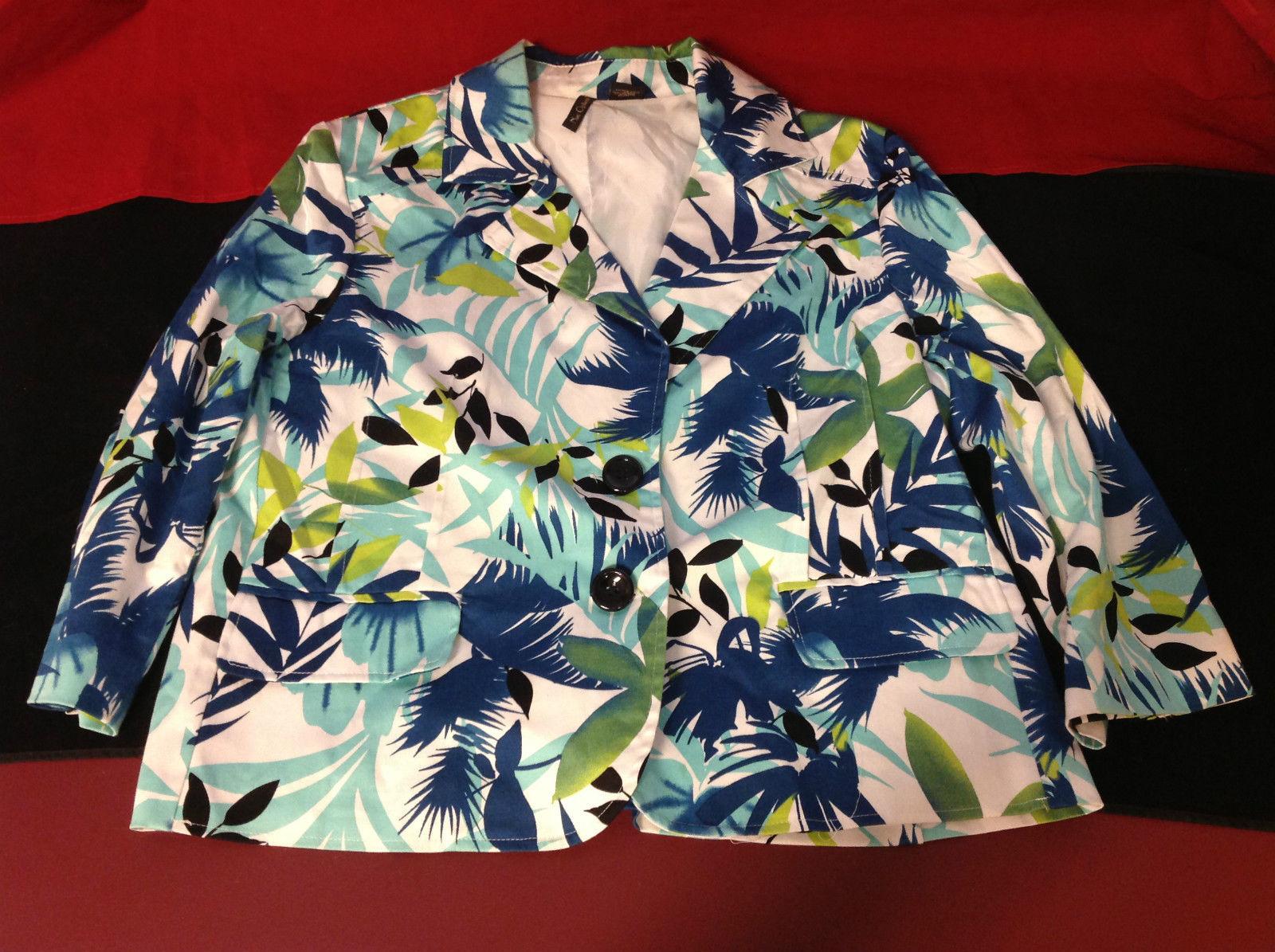 Nue Options Ladies Flowered Blazer White/Blue/Green/Black Size Large