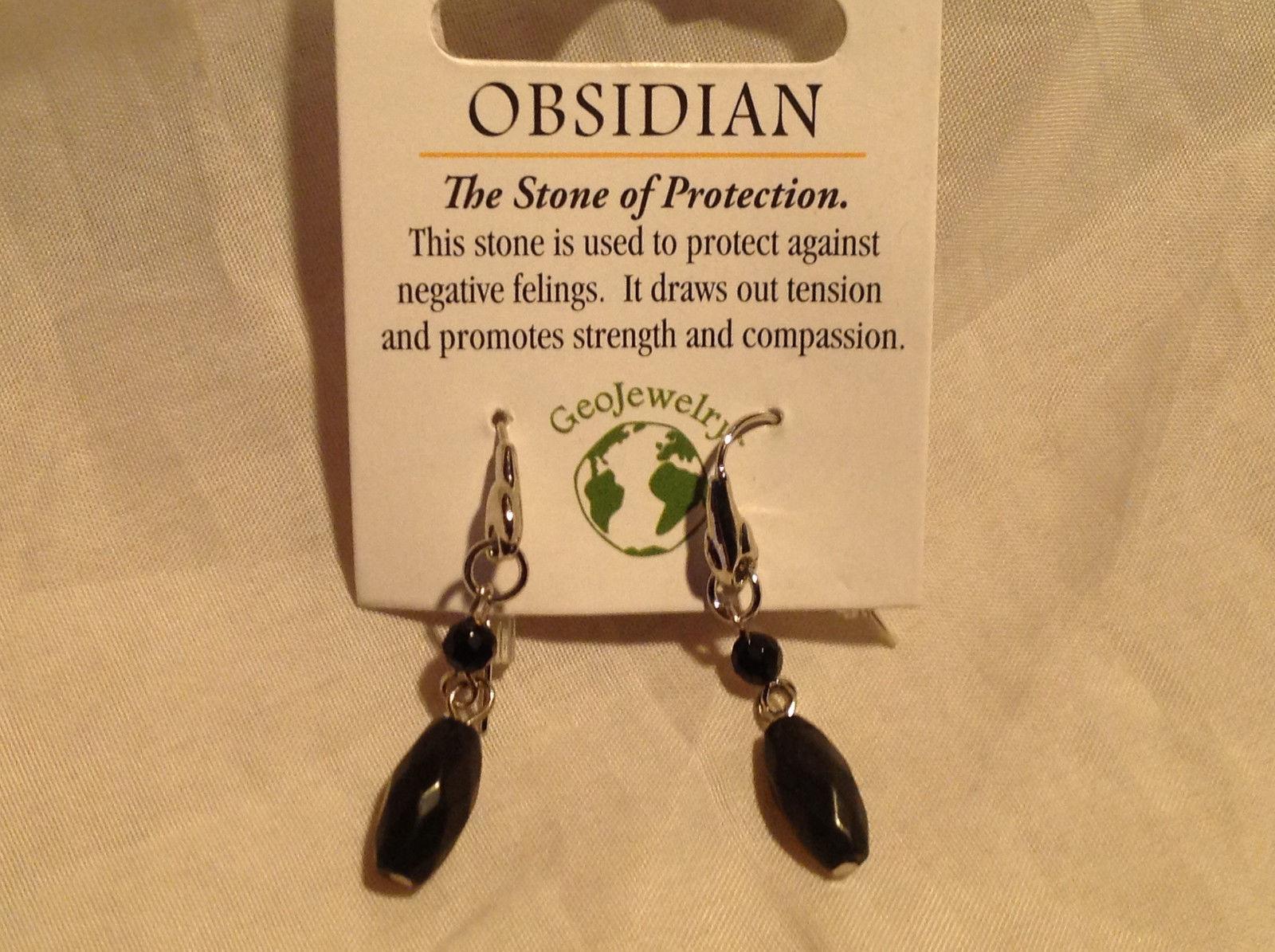 Obsidian Stone Quartz Crystal Silver Tone Drop Earrings Hook Back GeoJewelry