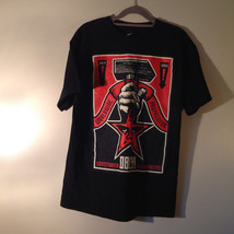 OBEY Black T Shirt White Dostain Picture on Front Red Star Fist Size Medium