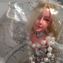 American Silkflower Hanging Silver Skirt Fairy Angel, Hand Painted Face image 3
