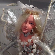 American Silkflower Hanging Silver Skirt Fairy Angel, Hand Painted Face image 5