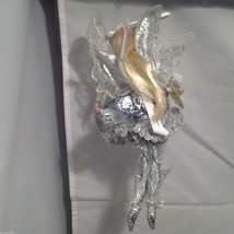 American Silkflower Hanging Silver Skirt Fairy Angel, Hand Painted Face image 7