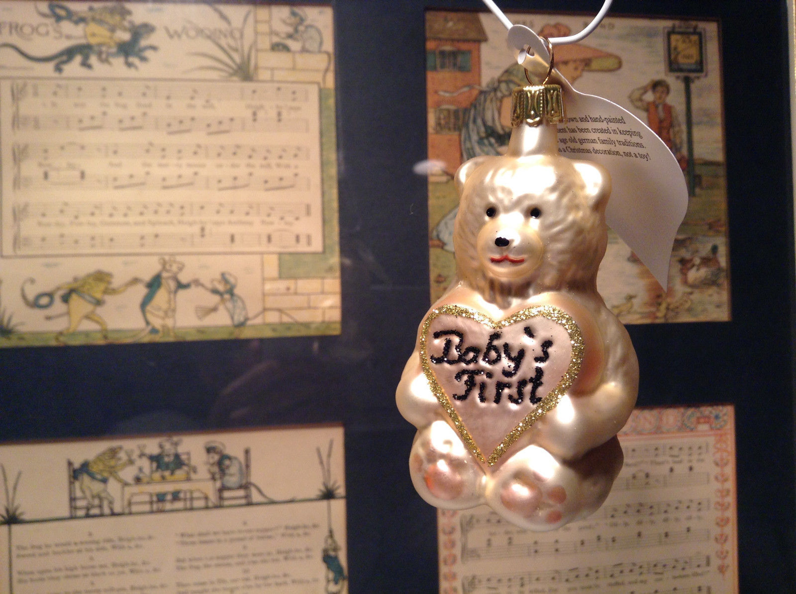 Off White Teddy Bear Babys First Hand Blown Glass Ornament German Christmas