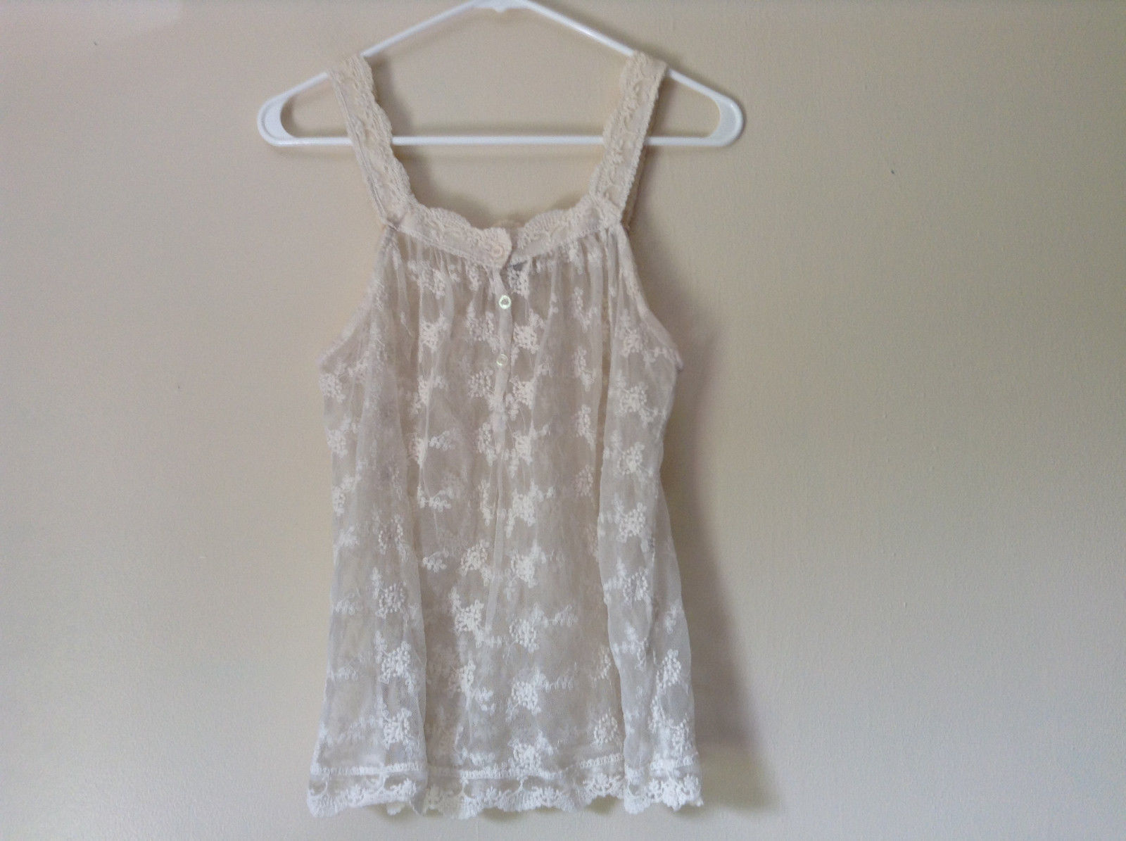 Off White Tank Top See Through Laced with Buttons by American Rag Size Small