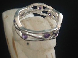 Amethyst Dotted Hammered Rustic Sterling Silver Weaver Ring Size Choice 7 or 8 image 2