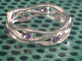 Amethyst Dotted Hammered Rustic Sterling Silver Weaver Ring Size Choice 7 or 8 image 5