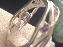 Amethyst Dotted Hammered Rustic Sterling Silver Weaver Ring Size Choice 7 or 8 image 4