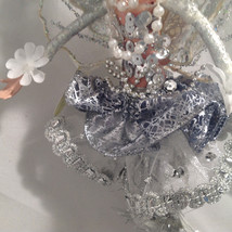 American Silkflower Hanging Silver Skirt Fairy Angel, Hand Painted Face image 2