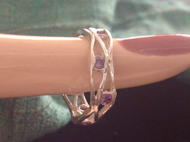 Amethyst Dotted Hammered Rustic Sterling Silver Weaver Ring Size Choice 7 or 8 image 8
