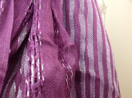 Light Plum Lilac Woven Material Striped Scarf Tassels Fashion Scarf image 5