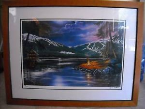 Print of Painting by Jim Collins mountain lake evening