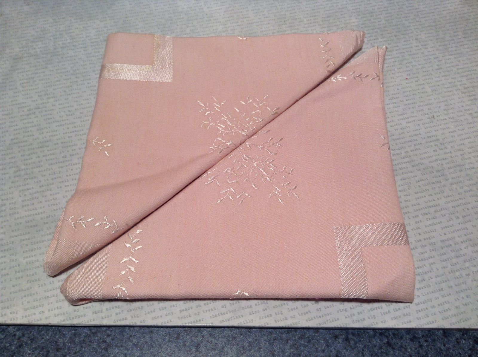 Pretty Vintage Two Large Pink Cloth Napkins with Silvery Threaded Designs