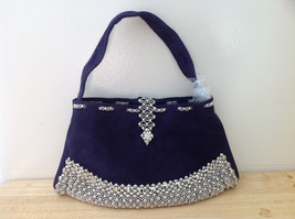 Pretty SG Liquid Metal Purple Suede Handmade Handbag with Short Strap