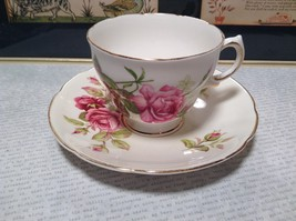 Pretty Royal Vale Bone China Teacup and Saucer Floral Pattern Gilded
