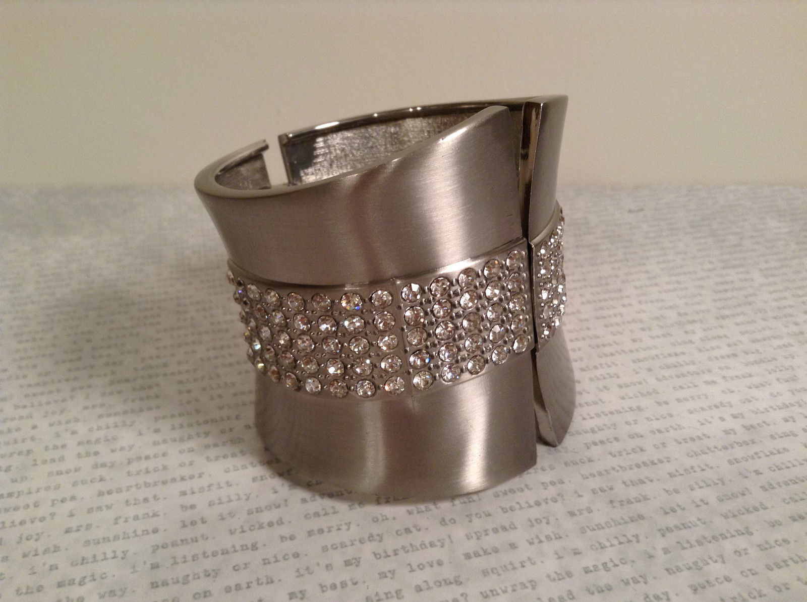 Pretty Silver Tone Wide Cuff Clasp Bracelet with Crystals Infinity Spring Clamp