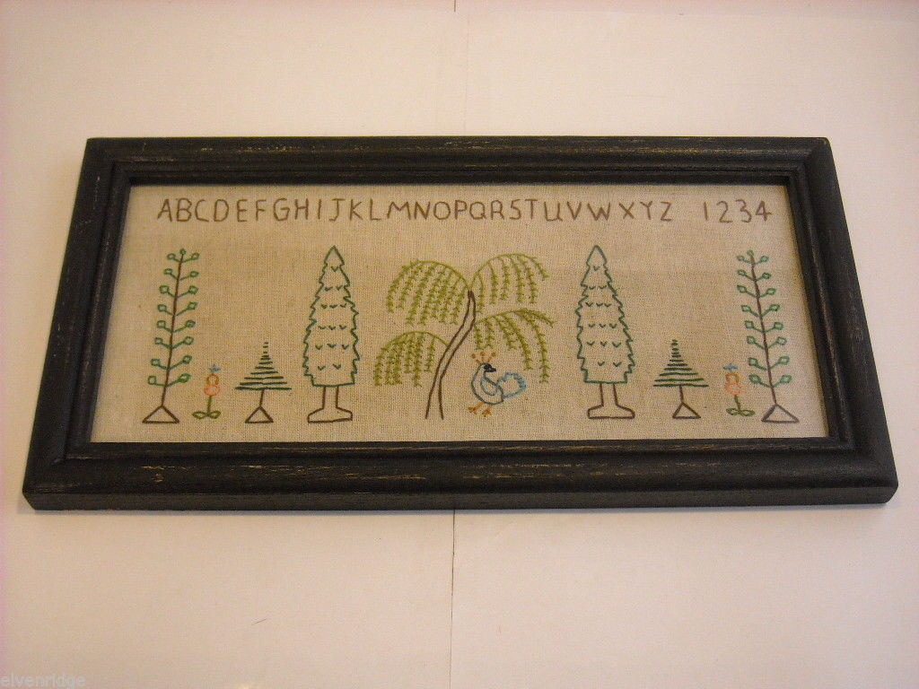 Primitive Embroidered Framed Trees w glass Alphabet Numbers sampler stitchery