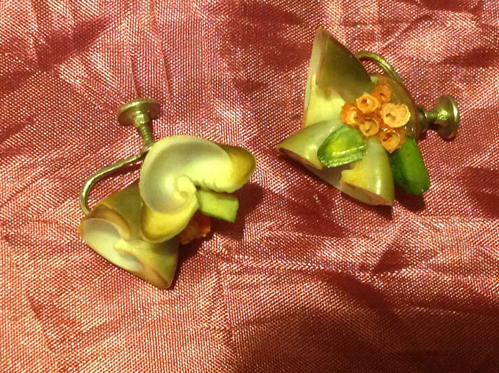 Pretty Seashell Vintage Screw-On Earrings with a Rose and Leaf 2 Inches