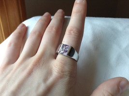 Light Purple CZ Stone Stainless Steel Ring Size 9  image 4