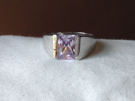 Light Purple CZ Stone Stainless Steel Ring Size 9  image 8