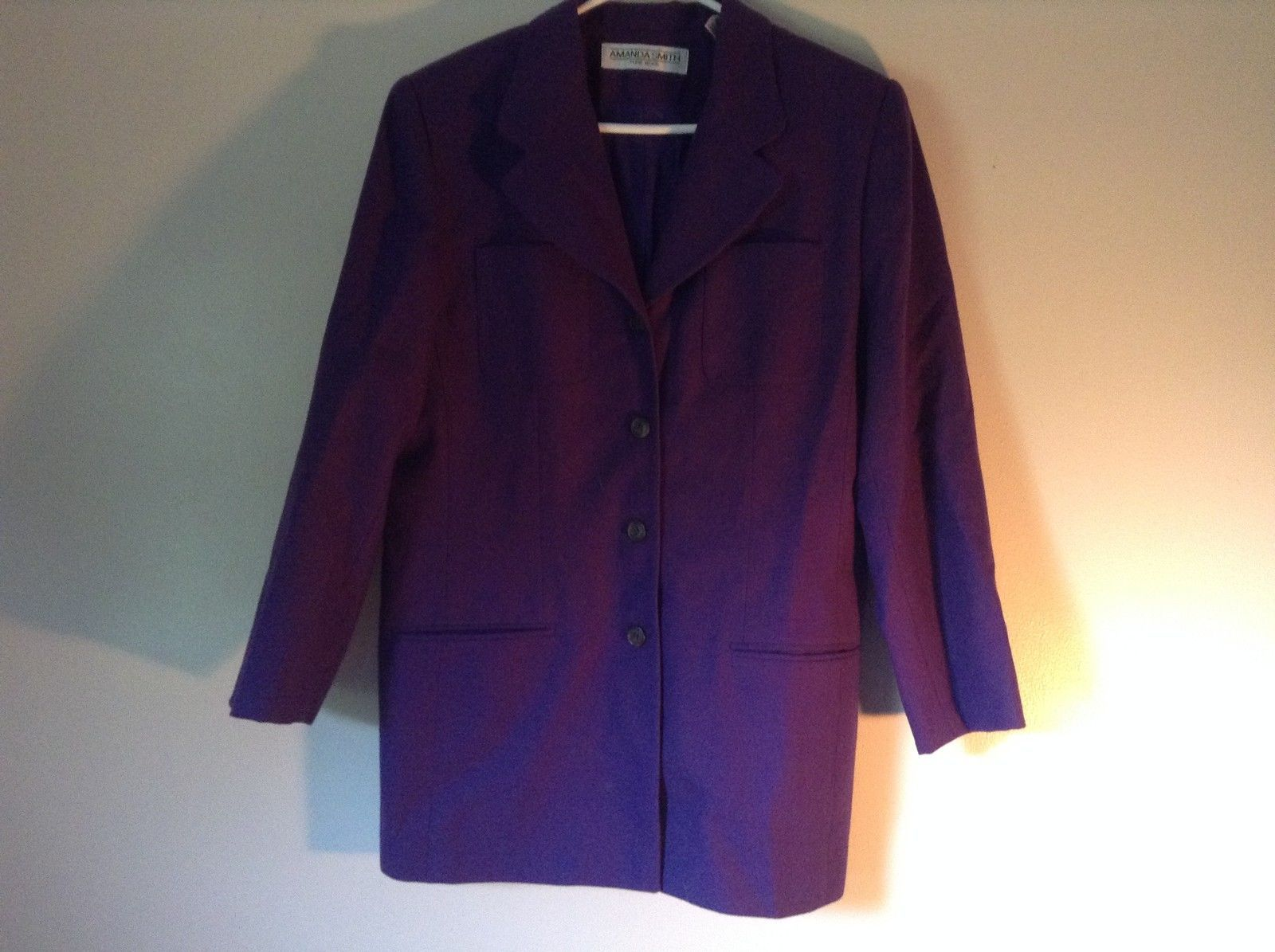 Pure Wool Purple Blazer Jacket by Amanda Smith Padded Shoulders 4 Button Closure