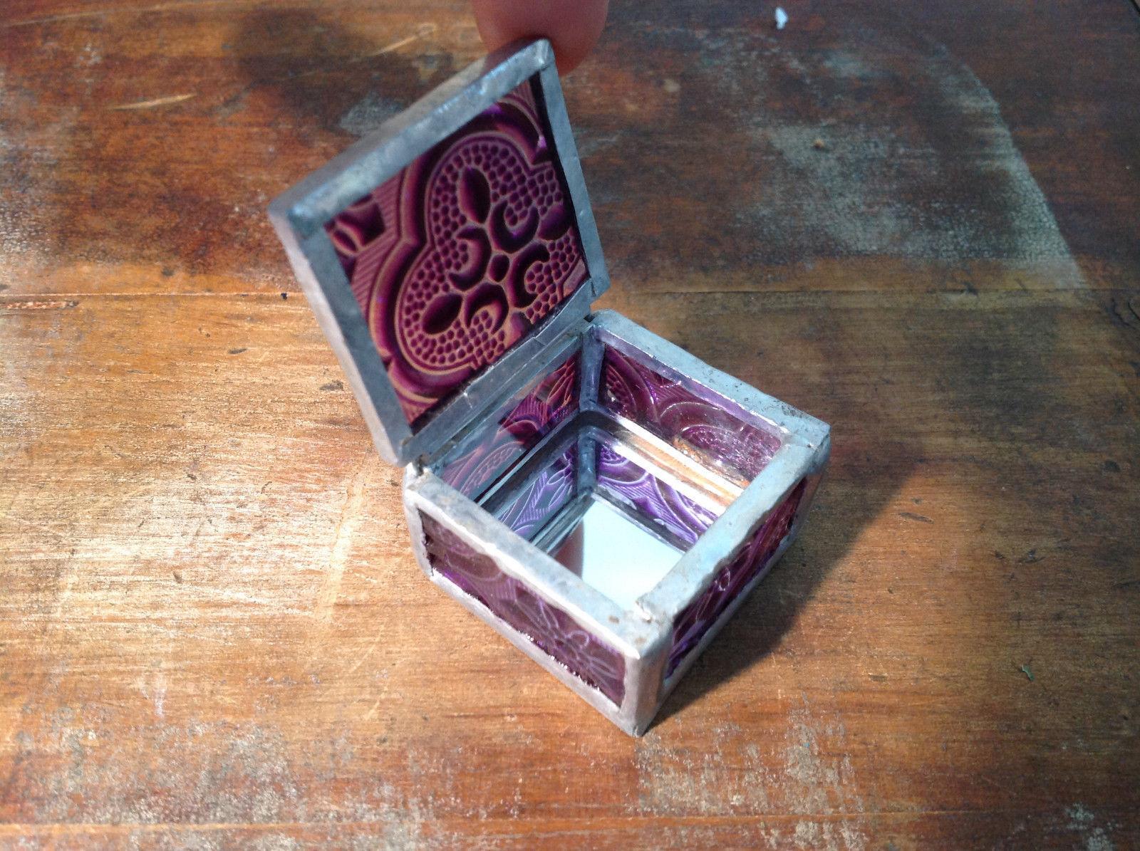 Purple Embossed Glass Ring Box Mirrored Bottom Paisley Designed Glass Handmade