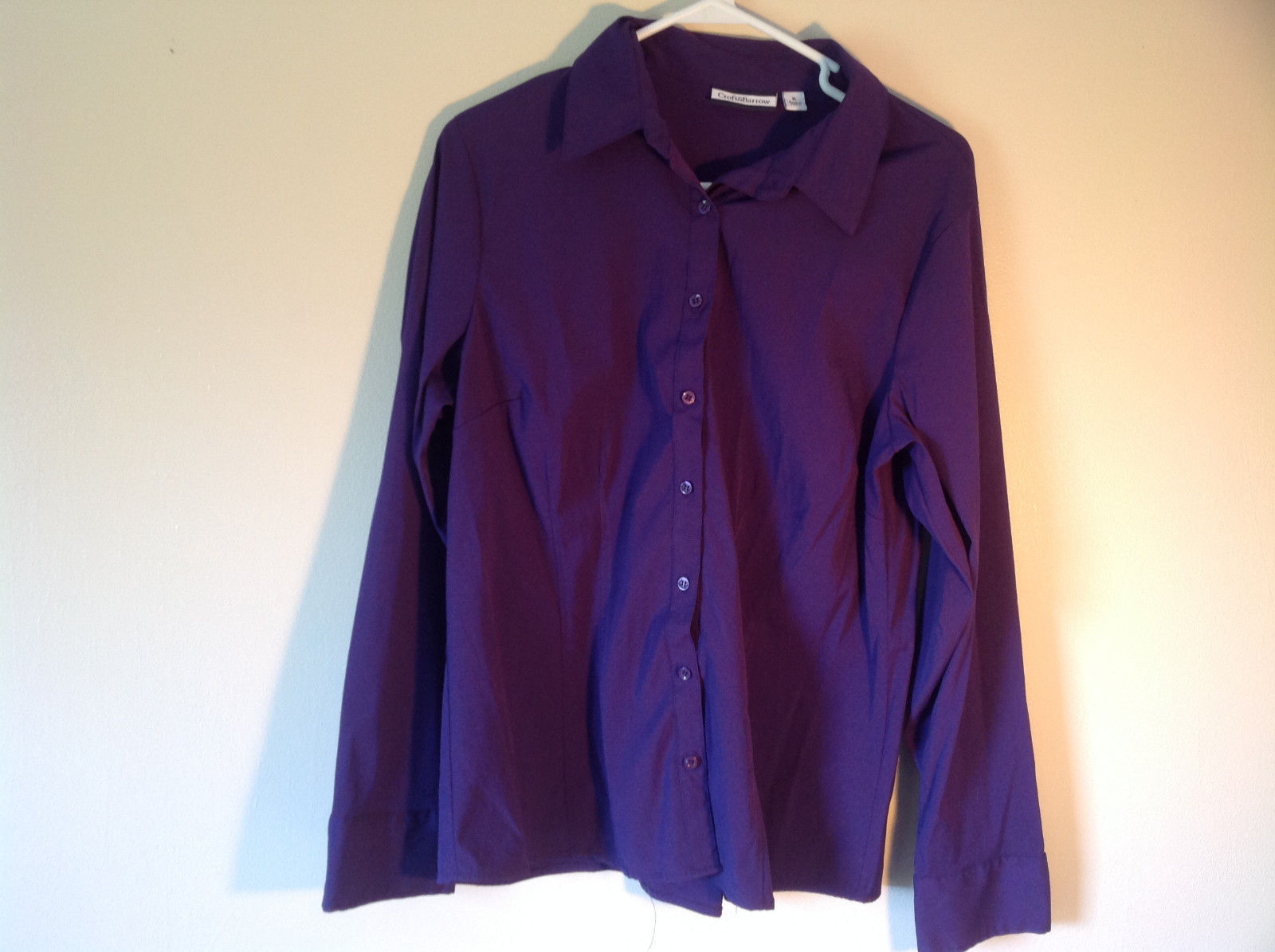 Purple Button Down Long Sleeve Croft and Barrow Shirt Made in China Size XL
