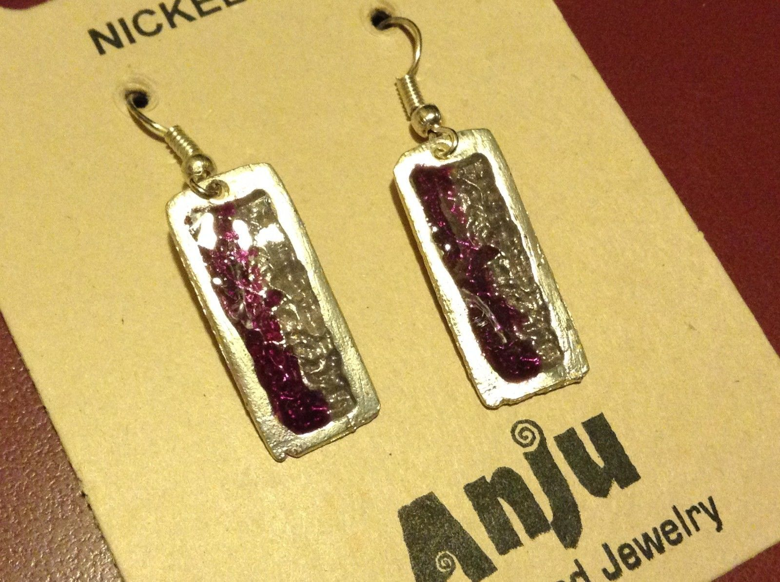 Purple & Gray Abstract Bar Glossy Finish Pewter & Enamel Earrings Handmade