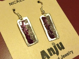 Purple & Gray Abstract Bar Glossy Finish Pewter & Enamel Earrings Handmade image 1