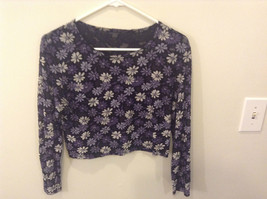 Purple Gray Black Floral Pattern Long Sleeve Scoop Neck Top No Size Tag