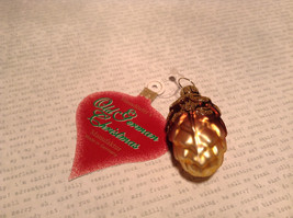Old German Christmas Glass Tree Gold Tone Brown Pine Cone Handmade Ornament